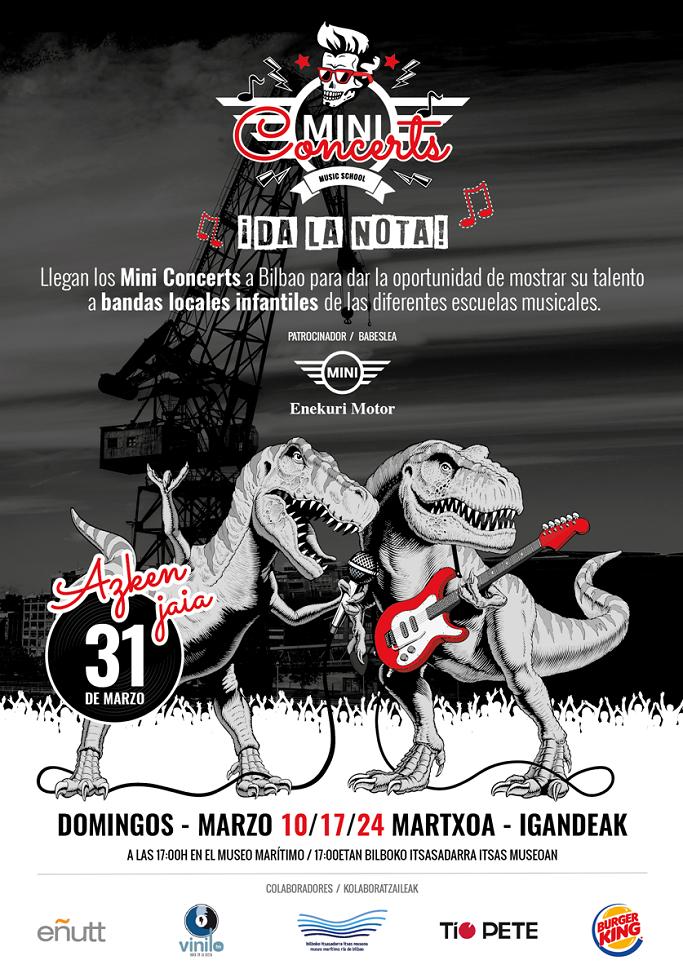 Cartel Miniconcerts, concurso musical organizado en el Itsasmuseum